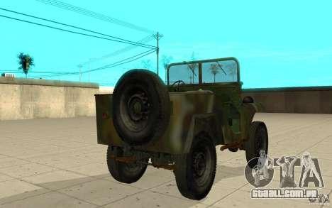 Gaz-64 pele 2 para GTA San Andreas traseira esquerda vista