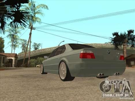 BMW E38 M7 para GTA San Andreas traseira esquerda vista