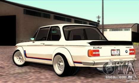 BMW 2002 Turbo para GTA San Andreas esquerda vista