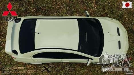 Mitsubishi Lancer Evolution X 2007 para GTA 4 vista direita