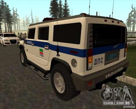 Hummer H2 DPS para GTA San Andreas traseira esquerda vista