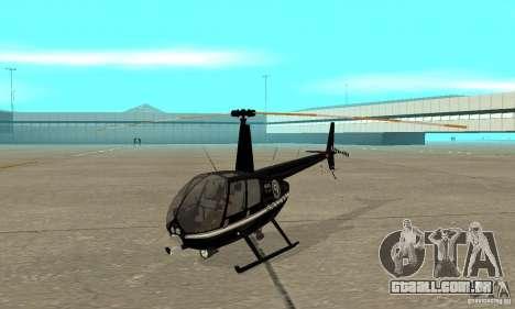 Robinson R44 Raven II NC 1.0 preto para GTA San Andreas esquerda vista