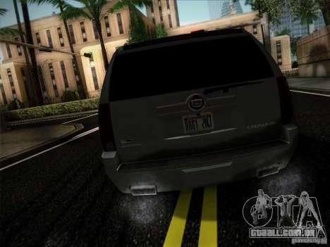 Cadillac Escalade ESV Platinum para GTA San Andreas traseira esquerda vista