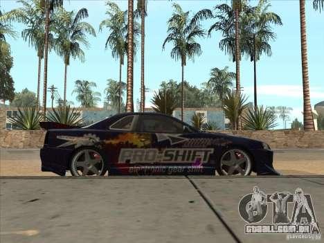 Nissan Skyline R34 VeilSide para GTA San Andreas vista interior