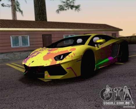 Trabalho de pintura Lamborghini Aventador Aventa para GTA San Andreas traseira esquerda vista