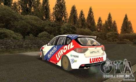 Subaru Impreza WRX STi Russia Rally para GTA San Andreas traseira esquerda vista