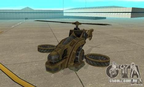 Um helicóptero do jogo TimeShift Brown para GTA San Andreas esquerda vista