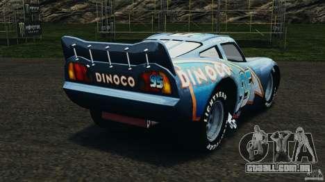 Lightning McQueen Dinoco para GTA 4 traseira esquerda vista