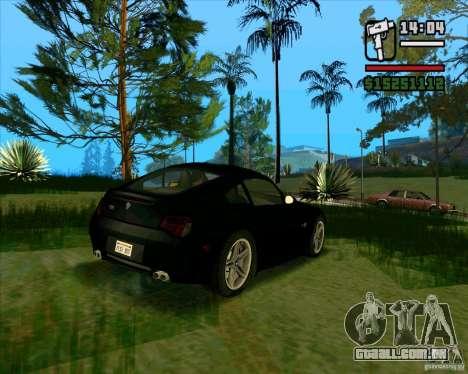 BMW Z4 M Coupe para GTA San Andreas traseira esquerda vista