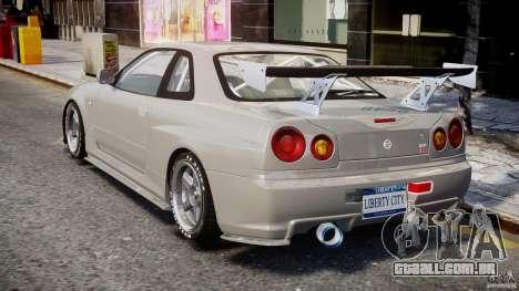 Nissan Skyline R34 Nismo para GTA 4 traseira esquerda vista
