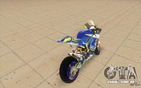 Yamaha M1 Rossi para GTA San Andreas traseira esquerda vista