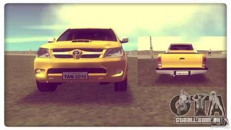 Toyota Hilux SRV 4x4 para GTA Vice City vista traseira esquerda
