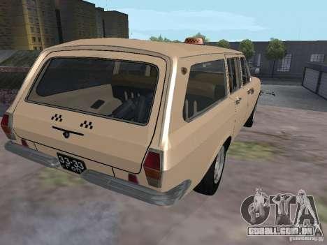 Táxi do Volga GAZ-24-02 para GTA San Andreas traseira esquerda vista