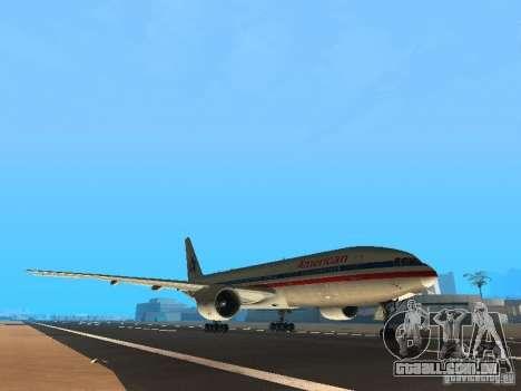 Boeing 777-200 American Airlines para GTA San Andreas esquerda vista