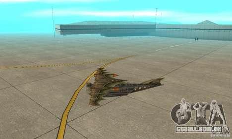 Belo avião de TimeShift para GTA San Andreas traseira esquerda vista