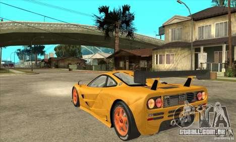 McLAREN F1 GTR GULF 1996 para GTA San Andreas traseira esquerda vista