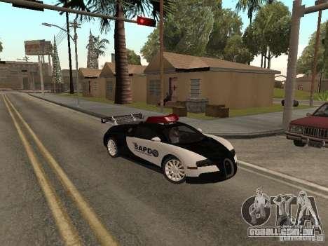 Bugatti Veyron Police para GTA San Andreas esquerda vista