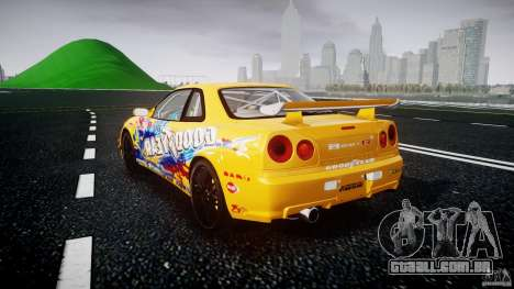 Nissan Skyline R34 GT-R Tezuka Goodyear D1 Drift para GTA 4 traseira esquerda vista