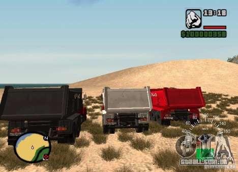 KrAZ 65055 caminhão para GTA San Andreas traseira esquerda vista