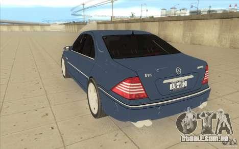 Mercedes-Benz S-Klasse para GTA San Andreas traseira esquerda vista