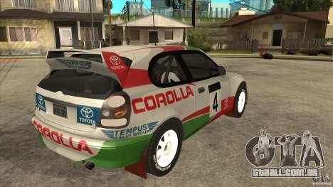 Toyota Corolla 1999 Rally Champion para GTA San Andreas vista interior