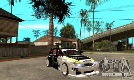 Subaru Impreza 2009 (Ken Block) para GTA San Andreas vista traseira