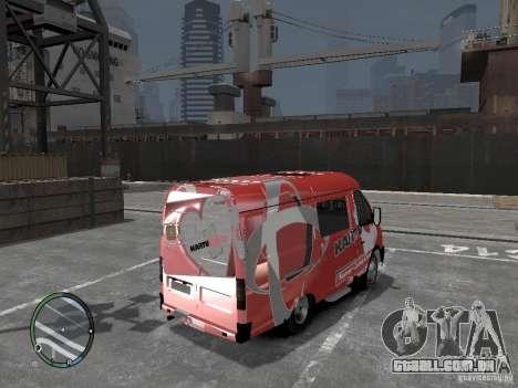 Gazela 2705 Telkomsel Van para GTA 4 traseira esquerda vista