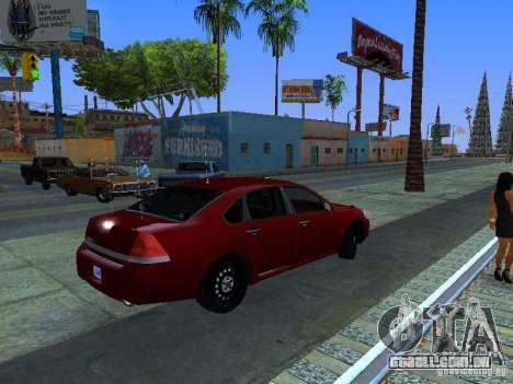 Chevrolet Impala Unmarked para GTA San Andreas vista traseira