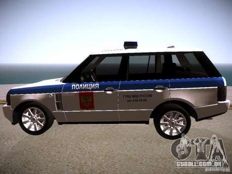 Range Rover Supercharged 2008 polícia departamen para GTA San Andreas esquerda vista