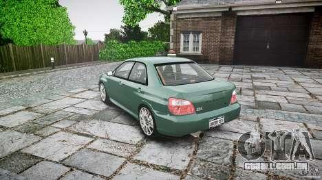 Subaru Impreza v2 para GTA 4 traseira esquerda vista