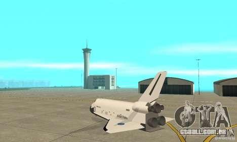 Space Shuttle Discovery para GTA San Andreas traseira esquerda vista