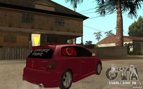 Honda Civic Type R para GTA San Andreas vista direita