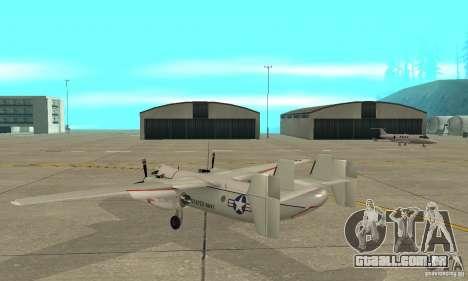 C-2 Greyhound para GTA San Andreas traseira esquerda vista