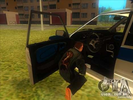 Ваз 2114 polícia russa para GTA San Andreas vista traseira