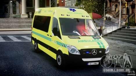 Mercedes-Benz Sprinter PK731 Ambulance [ELS] para GTA 4 vista de volta