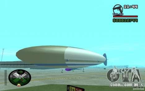 Grande dirigível para GTA San Andreas traseira esquerda vista