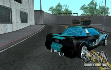 Baby blue Infernus para GTA San Andreas traseira esquerda vista