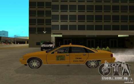 Chevrolet Caprice taxi para GTA San Andreas traseira esquerda vista
