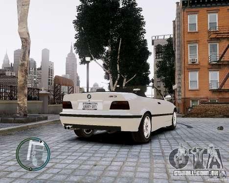 BMW M3 e36 1997 Cabriolet para GTA 4 traseira esquerda vista