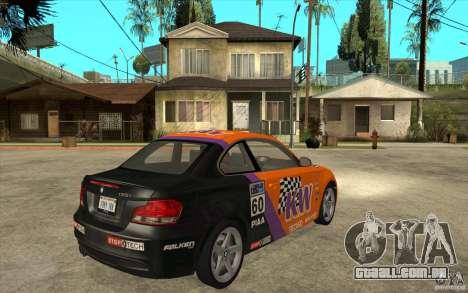 BMW 135i Coupe para GTA San Andreas vista traseira