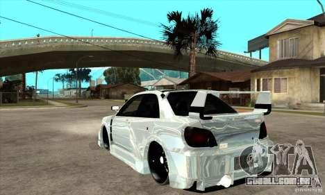 Subaru Impreza Tunned para GTA San Andreas traseira esquerda vista