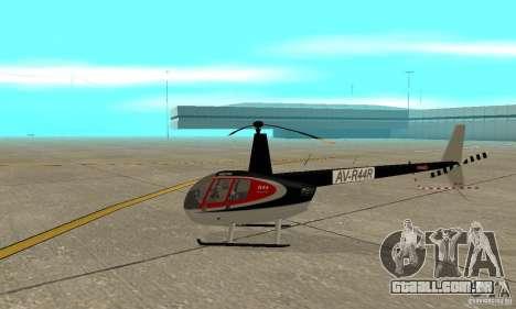 Robinson R44 Raven II NC 1.0 pele 2 para GTA San Andreas traseira esquerda vista