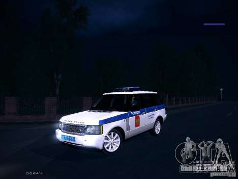 Range Rover Supercharged 2008 polícia departamen para GTA San Andreas vista interior