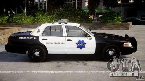 Ford Crown Victoria SFPD K9 Unit [ELS] para GTA 4 esquerda vista