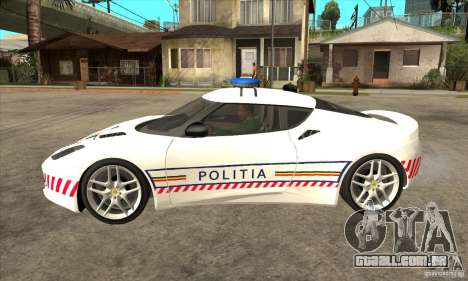 Lotus Evora S Romanian Police Car para GTA San Andreas esquerda vista