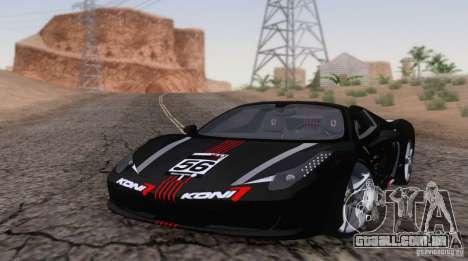 Ferrari F458 para GTA San Andreas esquerda vista
