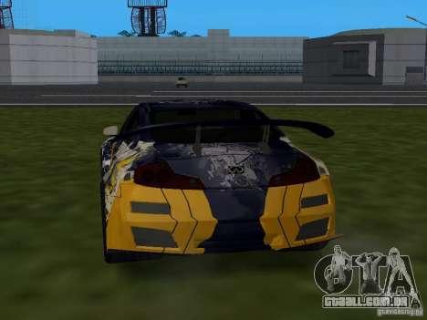 Infinity G35 Binsanity para GTA San Andreas esquerda vista