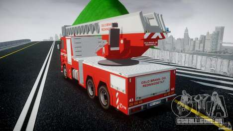 Scania Fire Ladder v1.1 Emerglights blue [ELS] para GTA 4 traseira esquerda vista
