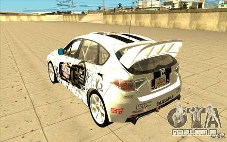 Subaru Impreza WRX STi com novo vinil original para as rodas de GTA San Andreas