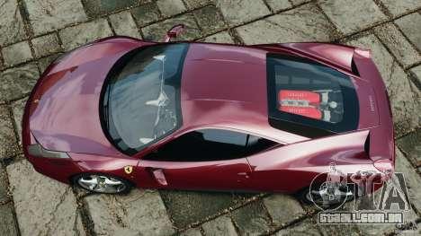 Ferrari 458 Italia 2010 v2.0 para GTA 4 vista direita